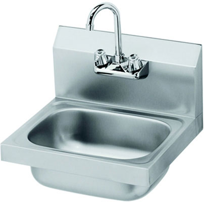 "12"" Wide Space Saver Hand Sink, Low Lead Compliant, 6"" Deep Bowl, Wall Mount Faucet & Bracket"