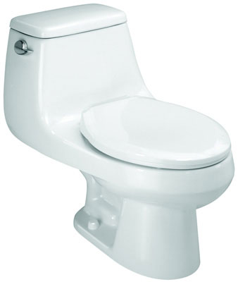 Elongated Front (1.6 gpf / 6.0 lpf) One-Piece Toilet with SmartClose Toilet Seat, Biscuit Color