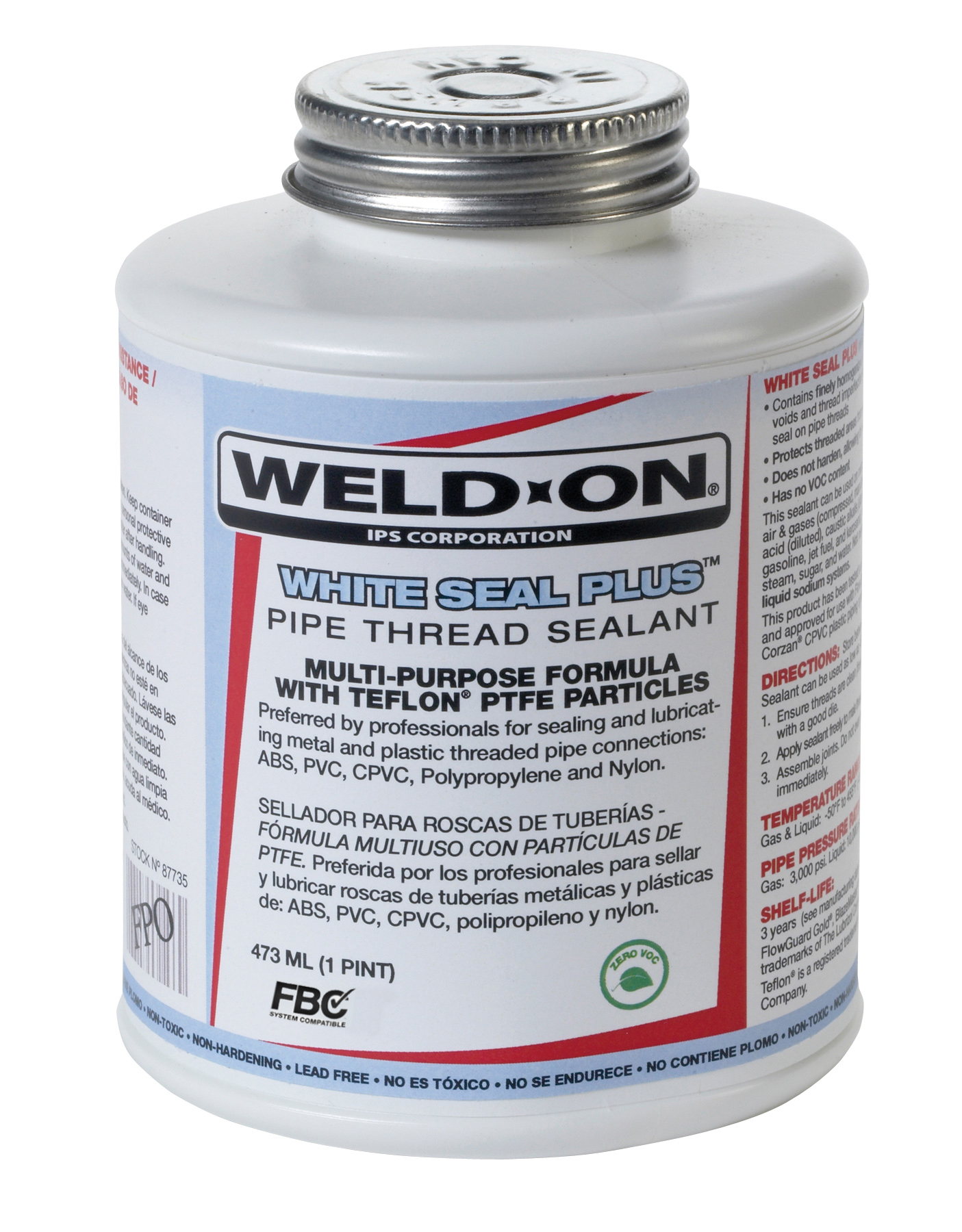 Weld-On WHITE SEAL PLUS White Plastic and Metal Pipe Thread Sealant, 1/4 Pt. Can with Brush in Cap Applicator