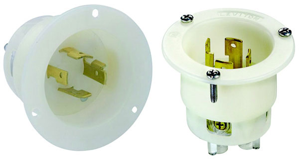 20A, 125/250V, Flanged Inlet Locking Receptacle, Industrial Grade, White, NEMA L14-20R