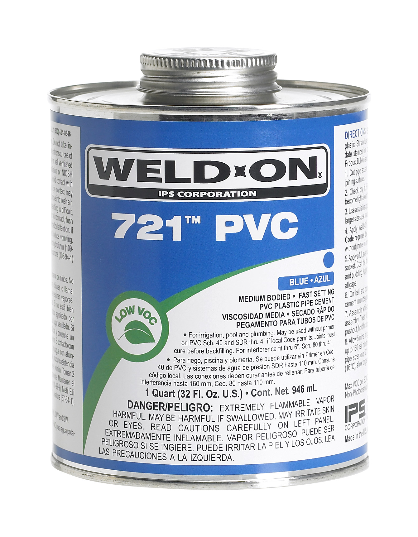 Weld-On 721 PVC Blue, Medium-Bodied, Fast-Setting, PT. Can With Applicator Cap.