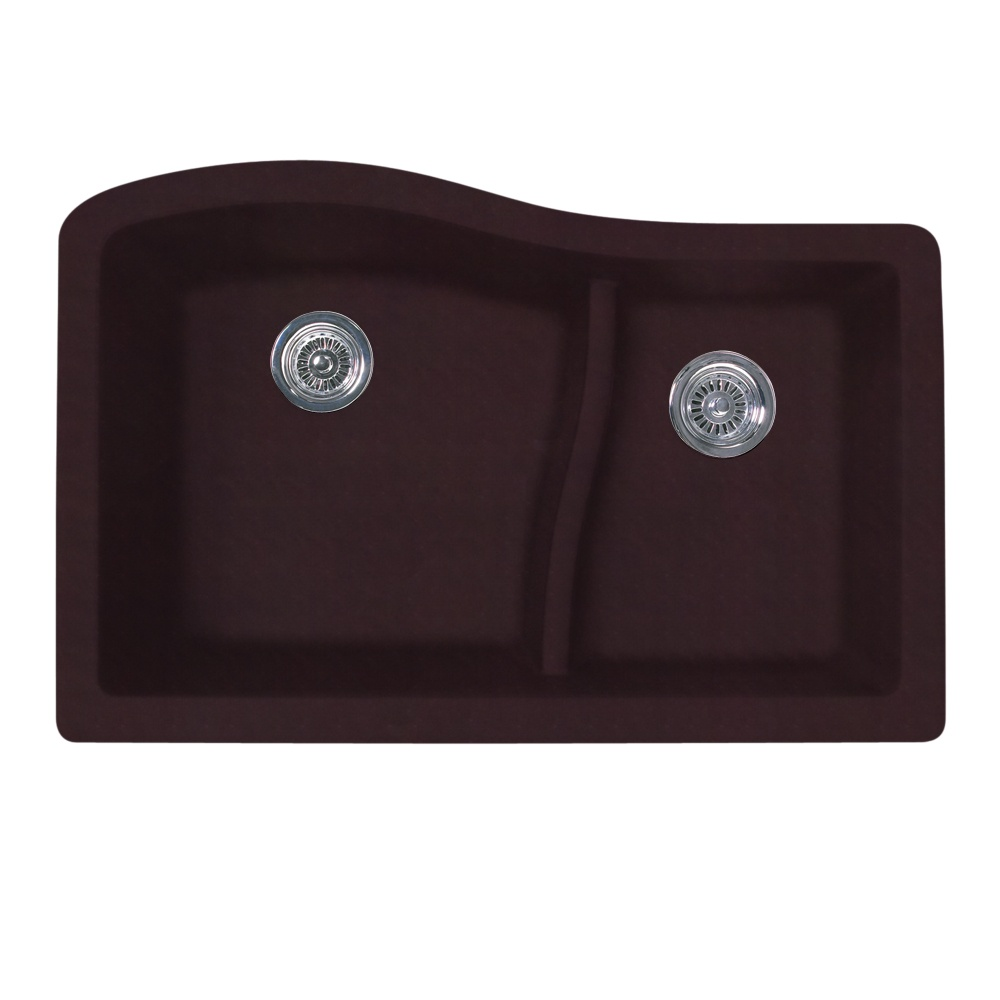 "Granite Undermount 32"" x 21"" x 10"" (L), 7-1/2"" (R) Large/Small Double Bowl Kitchen Sink in Espresso"
