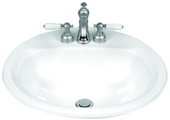 "19"" Round, Vitreous China, Self-Rimming Lavatory with 4"" Faucet Center, White Color"