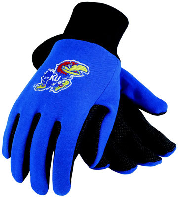 University of Kansas College Glove, Work Glove with PVC Micro-Dot Palm For Grip