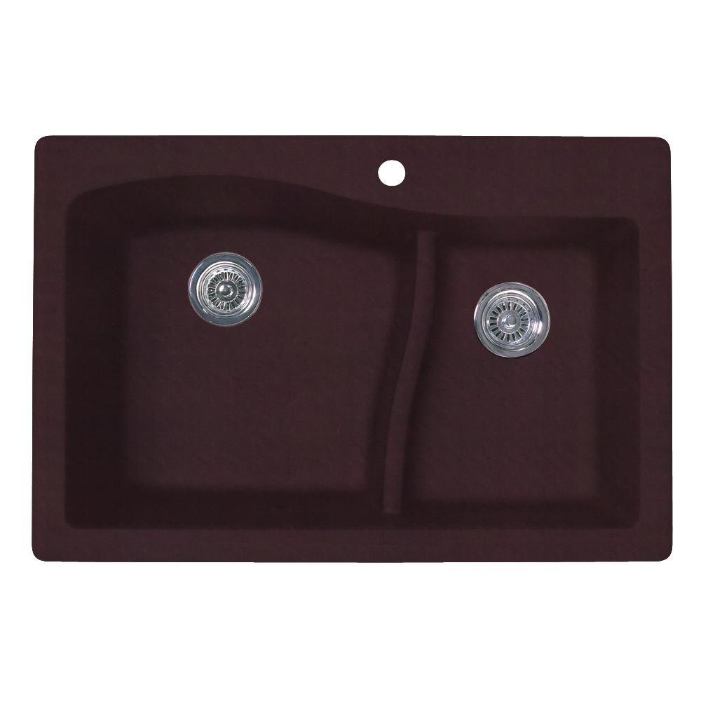 "Granite Dual Mount 33"" x 22"" x 10"" (L), 7-1/2"" (R) Large/Small Double Bowl Kitchen Sink in Espresso"