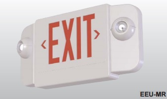 LED EMERGENCY EXIT COMBO, RED LETTERS, BLACK HOUSING.