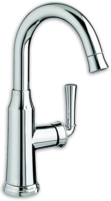 Portsmouth 1 Handle High Arc Pull Down Bar Sink Faucet with Pull Down Spray, Polished Chrome