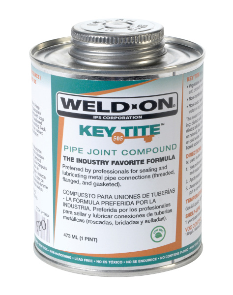 Weld-On 505 Key-Tite Green Metal Pipe Thread Sealant, 1/2 PT Can with Brush in Cap Applicator