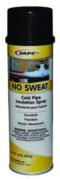 No Sweat Cold Pipe Insulation Spray, Solvent Based Aerosol