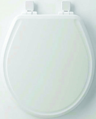 Round Molded Wood Toilet Seat w/ Whisper Close, Easy Clean & Change Hinge and STA-TITE, Biscuit