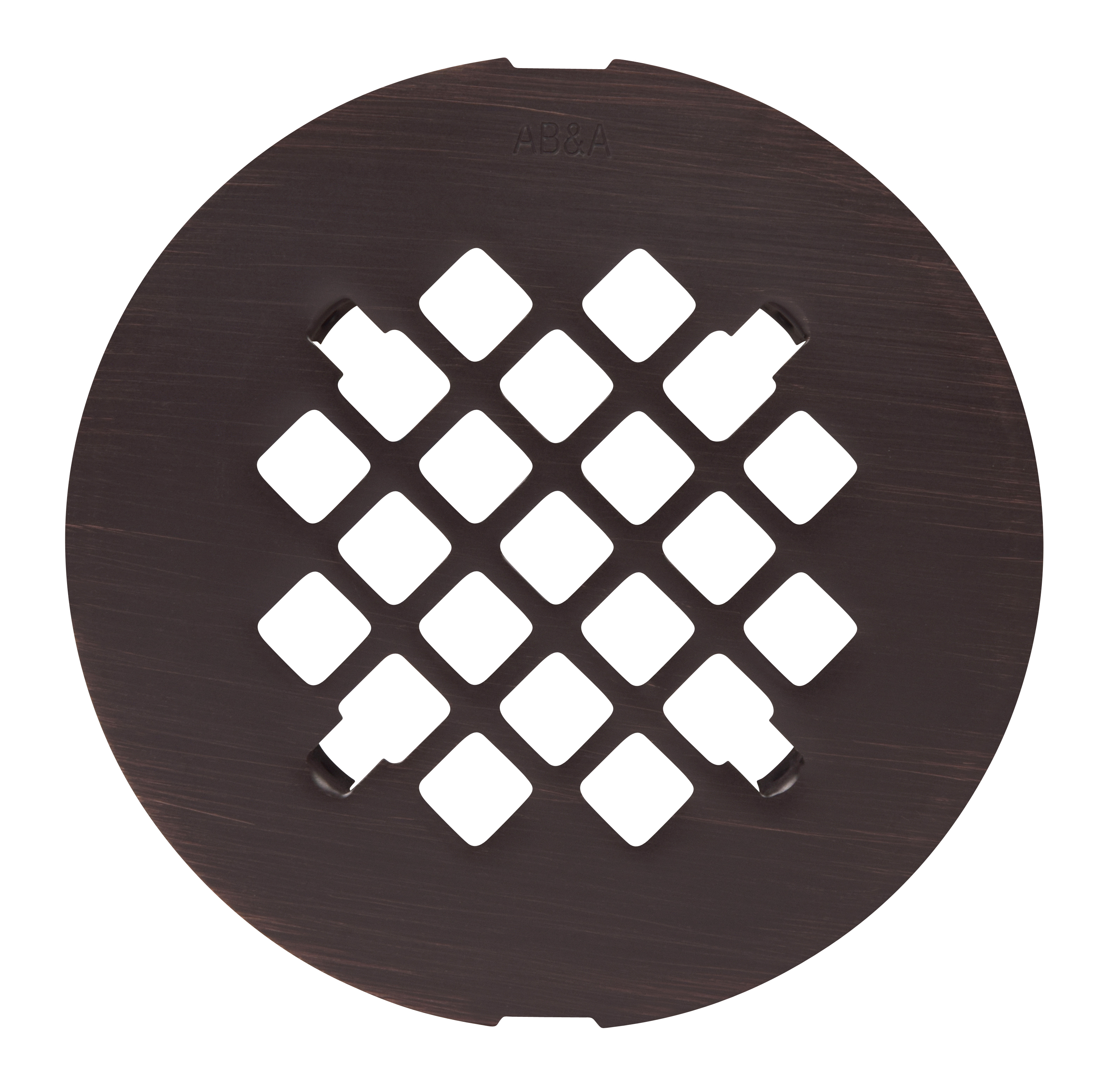 AB&A Shower Drain Grate - Snap-in, Round 4-1/4 Snap-In Steel Grate (7200 Series), Venetian Bronze - Carded .