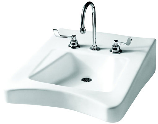 "20"" x 27"" Wall-Mount Lavatory with 4"" Faucet Center, White Color"