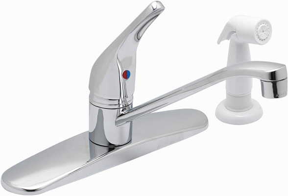 Single Handle Sink Faucet With Spray - Chrome/Brass