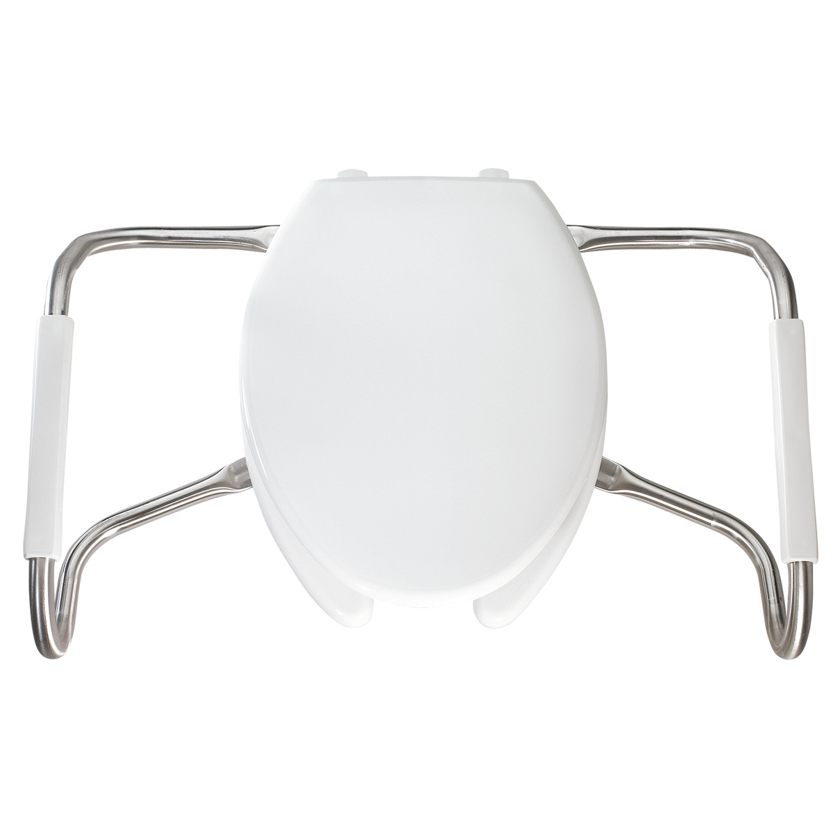 Elongated Plastic Open Front With Cover Medic Aid Toilet Seat with STA TITE, DuraGuard and Stainless Steel Safety Side Arms White