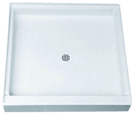 "36"" x 36"" Florestone Recess Shower Receptor with The Edge, Biscuit"