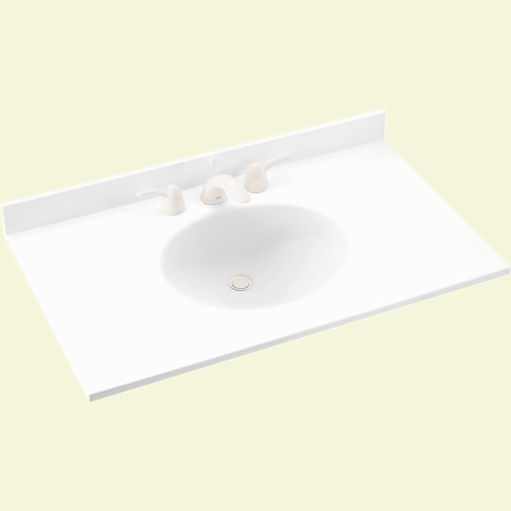 "Solid Surface 22"" x 31"" Single Bowl Vanity Top in White"