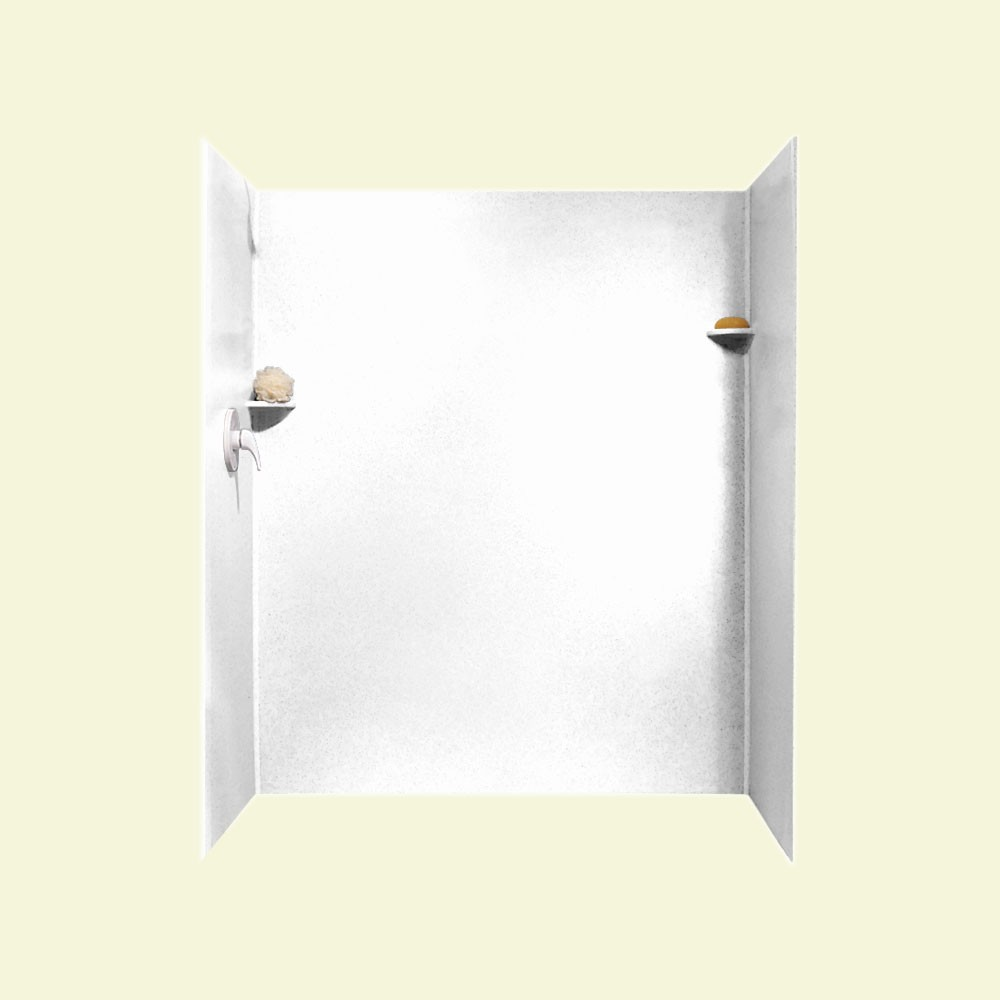 "Solid Surface 36"" x 60"" x 72"" Shower Wall Kit in White"