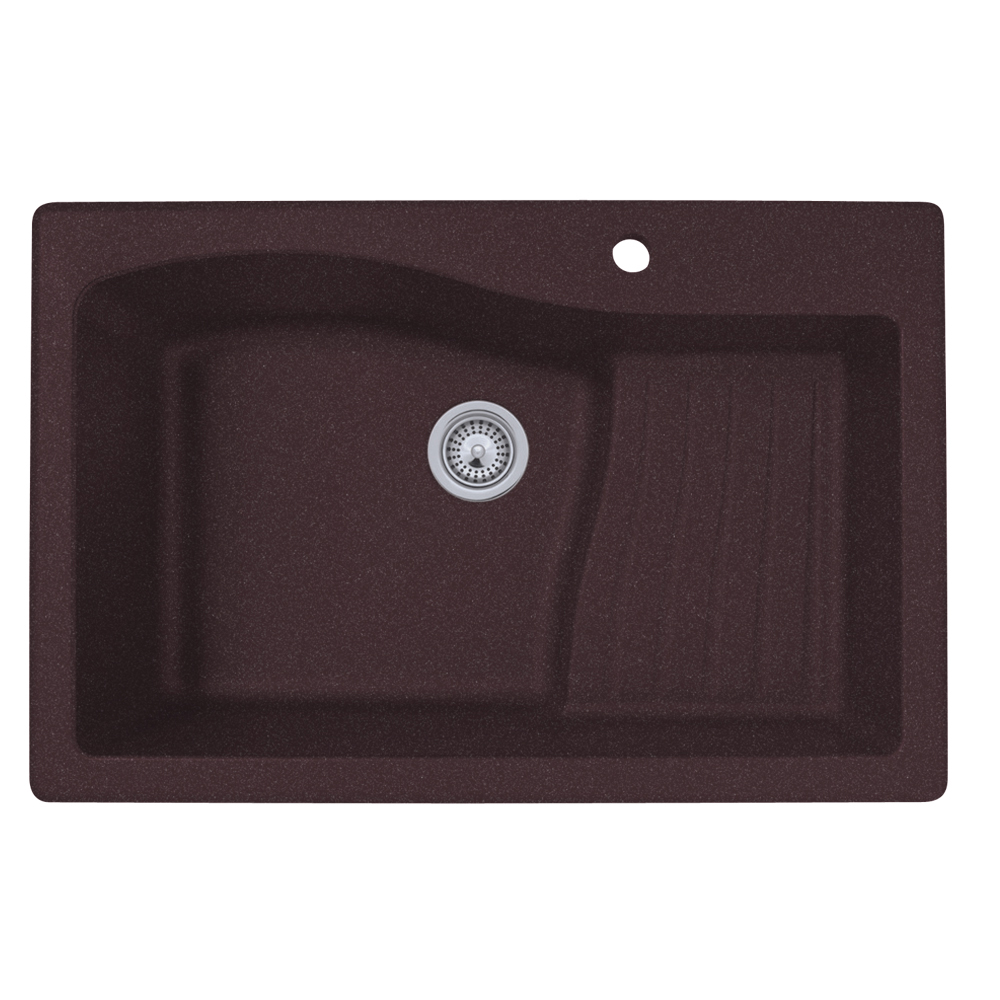 "Granite Dual Mount 33"" x 22"" x 10"" Ascend Single Bowl Kitchen Sink in Espresso"