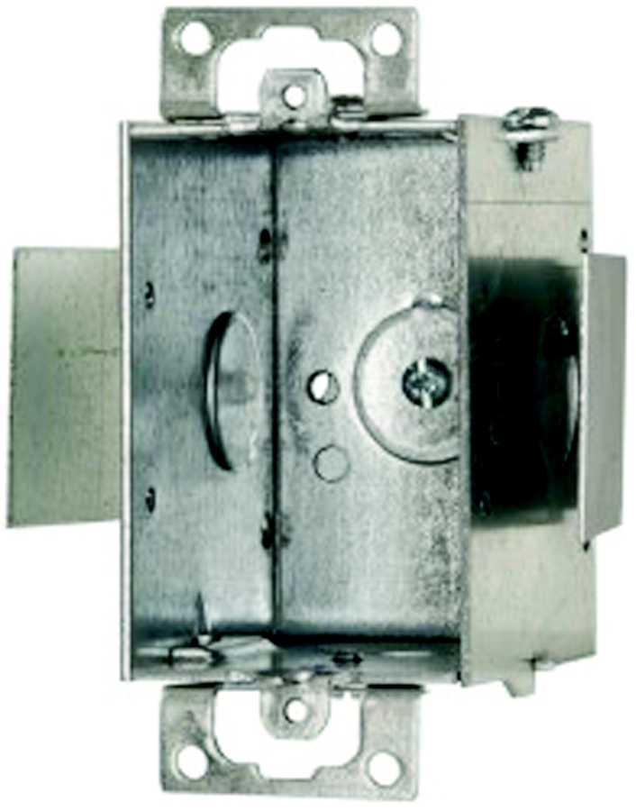 "3"" Long x 2"" Wide Non-Gangable Switch Box, 2-1/2"" Depth, Snap-In Bracket, 1 Screw Ear, For Conduit - No Clamps"