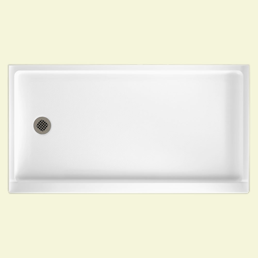 "Solid Surface 32"" x 60"" Retrofit Shower Floor with Left Hand Drain in White"