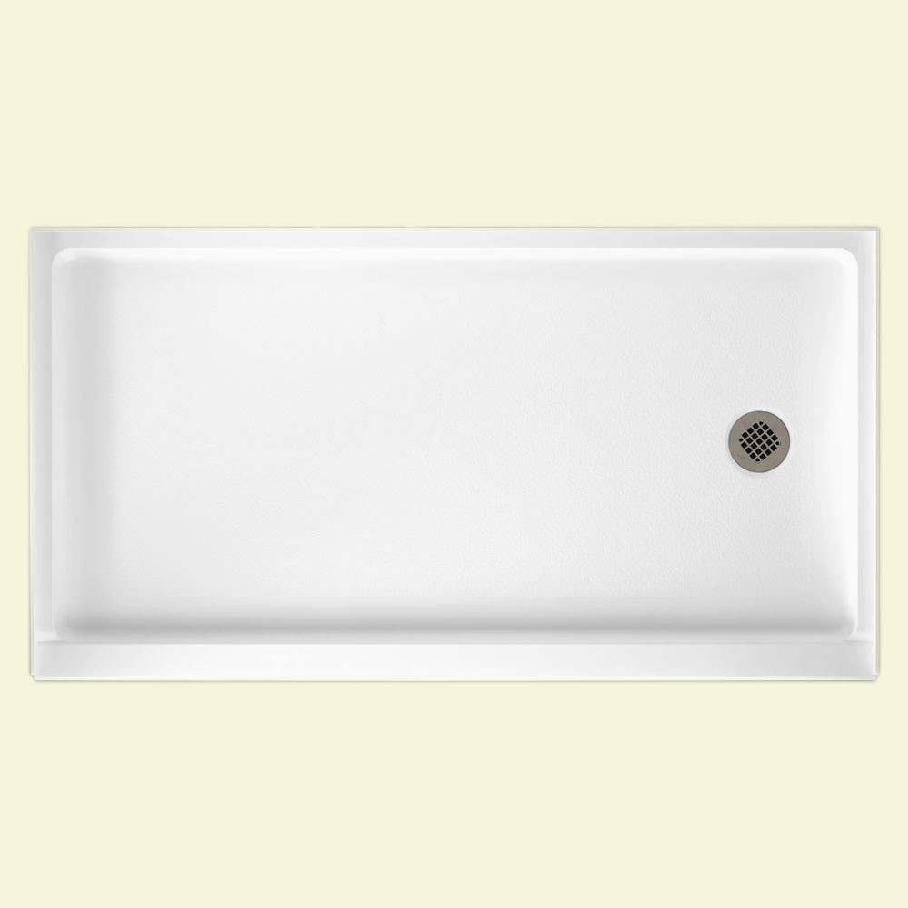 "Solid Surface 32"" x 60"" Retrofit Shower Floor with Right Hand Drain in White"