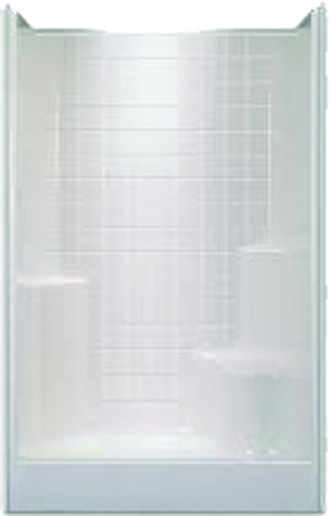 Charmant Left Hand 1 Seater Simulated Tile Shower 48u201d X 35.875u201d X 77.75u201d, Include  One Large Molded Seat, Two Soap Ledges And 4u201d Simulated Tile Pattern,  Biscuit