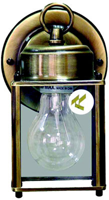 "1 Medium Base 100W Outdoor Wall Sconce, Antique Brass, 9-1/2"" H x 4-1/2"" W"