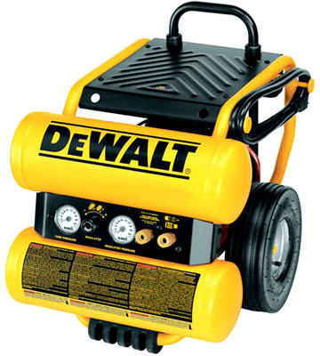 DeWalt D55154 Continuous Dolly Style Oil Lubricated Heavy Duty Wheeled Portable Electric Air Compressor With Panel, 3.8 cfm, 1.1 hp, 125 psi