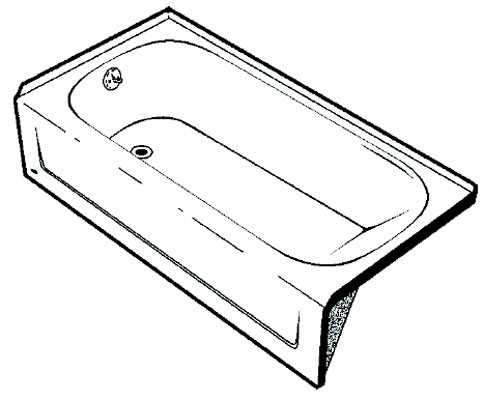 "Mauicast 15"" Deep Soaking Bathtub, Left Hand Drain, Slip-Resistant Bottom, White Color"