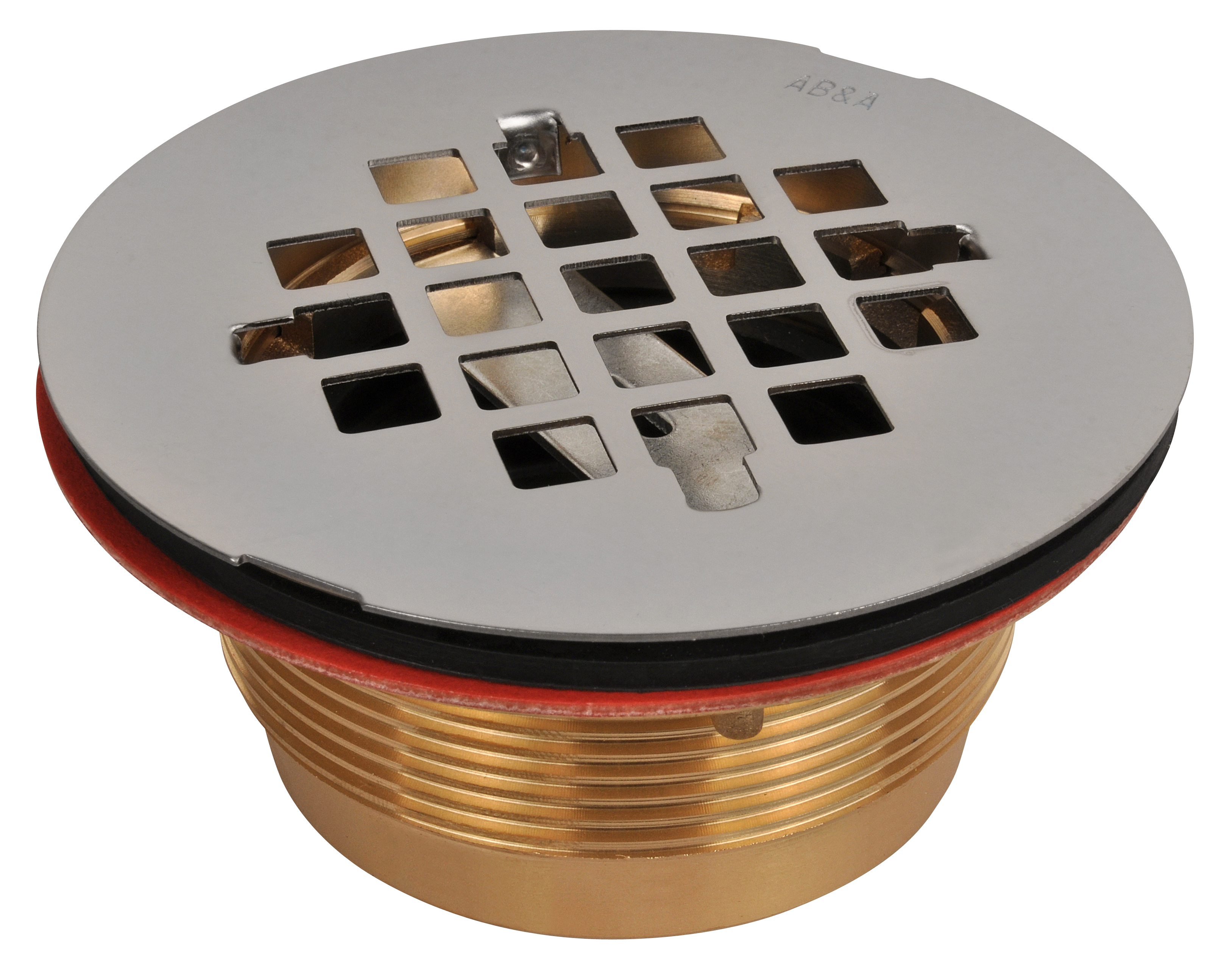 AB&A Fiberglass and Acrylic Floor Shower Drain, No-Caulk 2- Brass Body - Stainless Steel Strainer Snap-in (7200 Series)