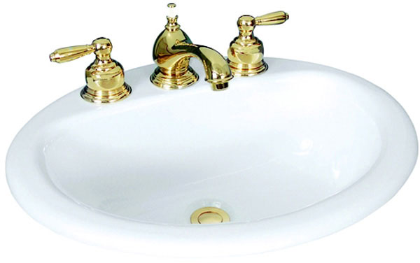 "Oval, Self-Rimming Lavatory with 4"" Faucet Centers, Biscuit Color"