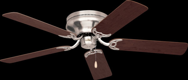 "Snugger 52"" Blade Span Ceiling Fan ,Brushed Steel Housing, Dark Cherry/Mahogany Blades"
