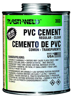 Oatey 30366S PVC Cement, 4 oz Container, Liquid, Clear, 0.9 /- 0.02