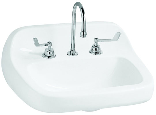 "22"" x 18-1/8"" Wall-Mount Lavatory with 4"" Faucet Center, White Color"
