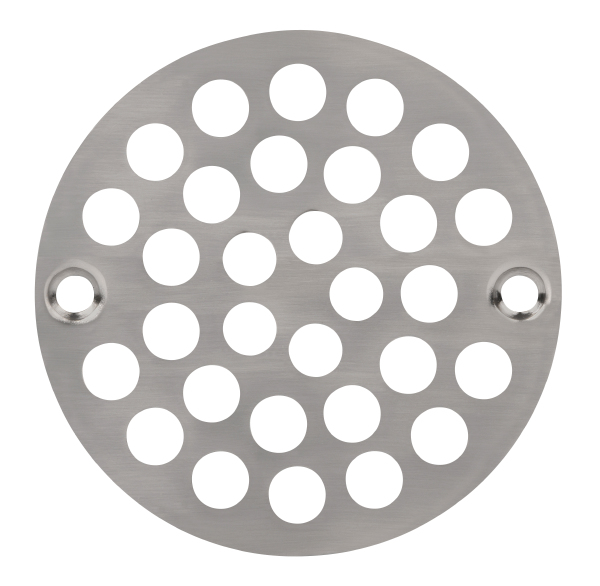 AB&A 4 Shower Drain Grate-Screw Down w/screws, Round 4 Steel Grate for Plastic Strainer Barrels, Satin Nickel - Carded