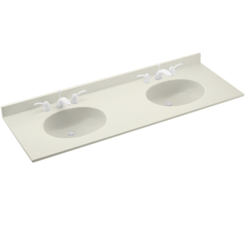 "Solid Surface 22"" x 61"" Double Bowl Vanity Top in Bisque"