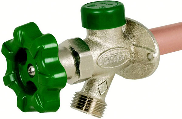 "1/2"" MPT x 1/2"" SWT, 10"" Insertion, Handle Operated, D-Style Quarter-Turn Wall Hydrant"