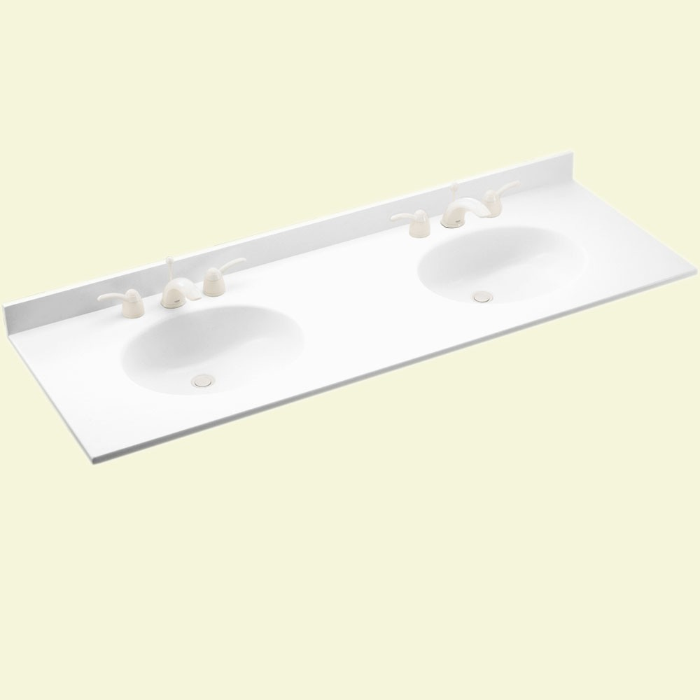 "Solid Surface 22"" x 61"" Double Bowl Vanity Top in White"