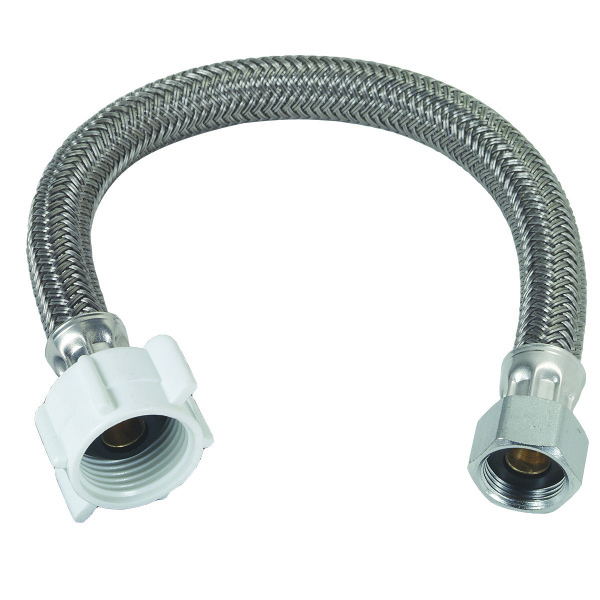 1/2-in Compression x 7/8-in Ballcock Nut x 12-in Polymer Braided Toilet Connector