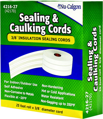 "Insulation Sealing and Caulking Cords, 3/8"" x 25' Roll"