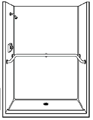 "HS760 60"" Shower with fold-down seat on left White"