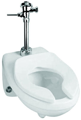 Wall-Mount, Rear Outlet, Elongated Front Toilet Bowl, Less Flushometer, White Color, Rear Outlet Rough-In