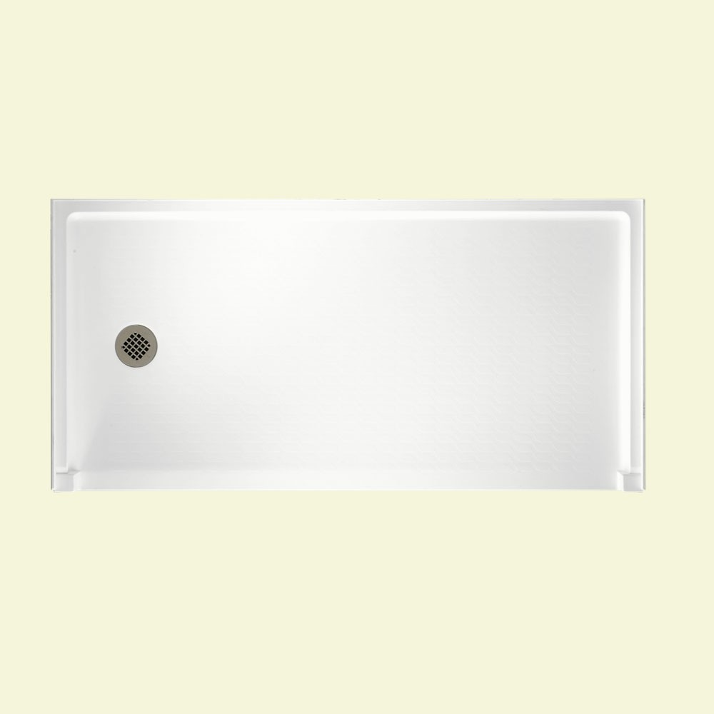 "Solid Surface 30"" x 60"" Barrier Free Shower Floor with Left Drain in White"