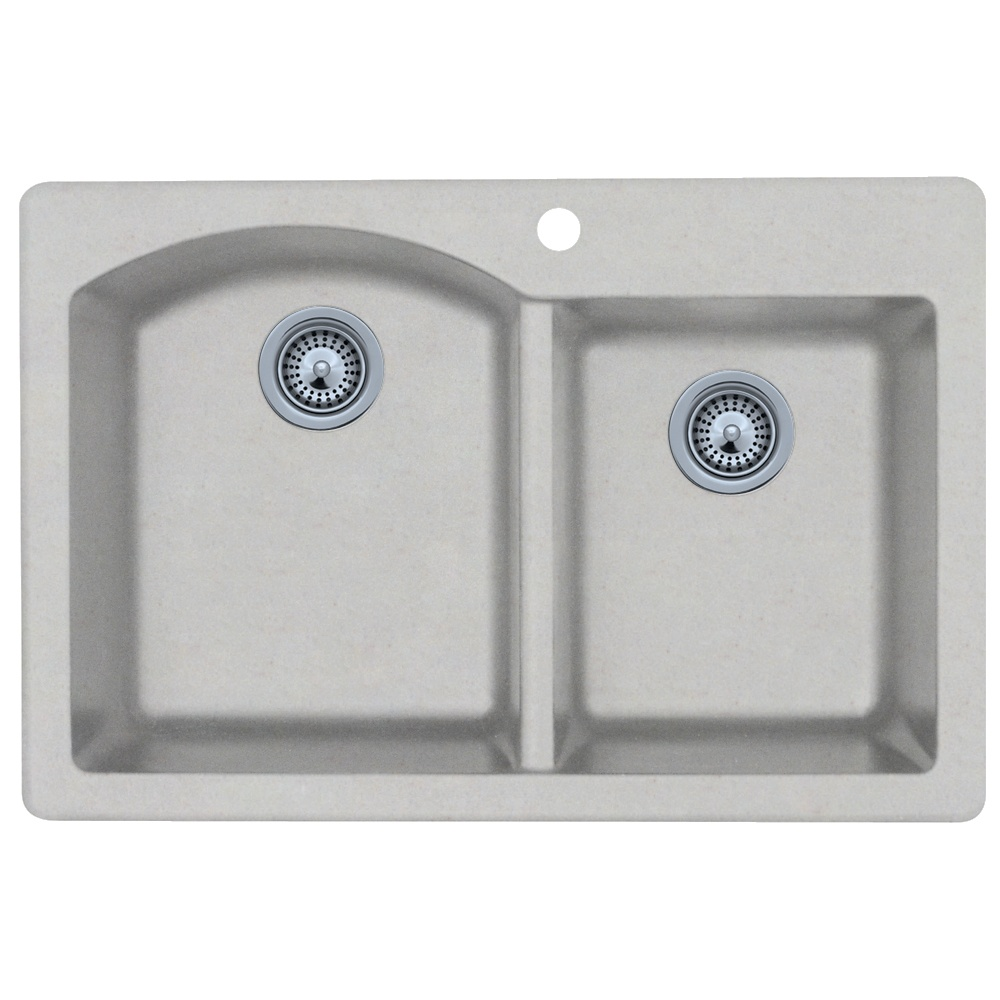 "Granite Dual Mount 33"" x 22"" x 9"" Double Bowl Kitchen Sink in Granito"
