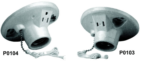 Products | Pull Chain Lamp Holder With 3 Wire Outlet, GROUNDED
