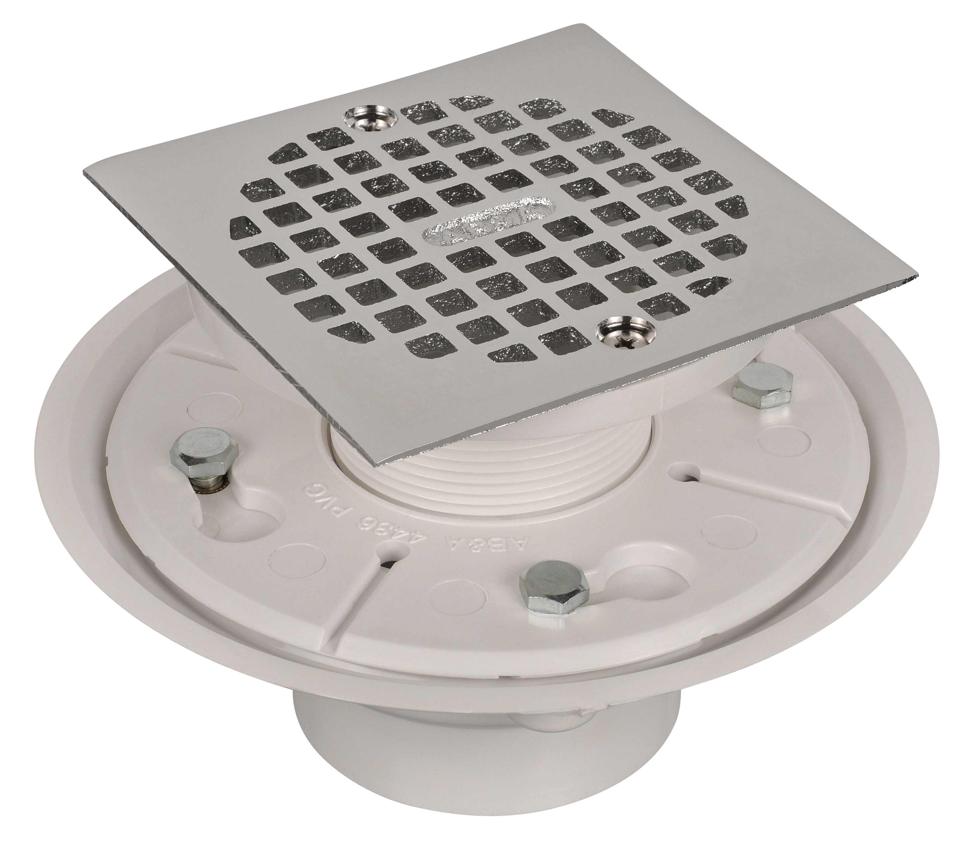 AB&A Low Profile Adjustable Shower Drain with Reversible Clamping Ring - Square Cast Brass Strainer, PVC Body, Chrome