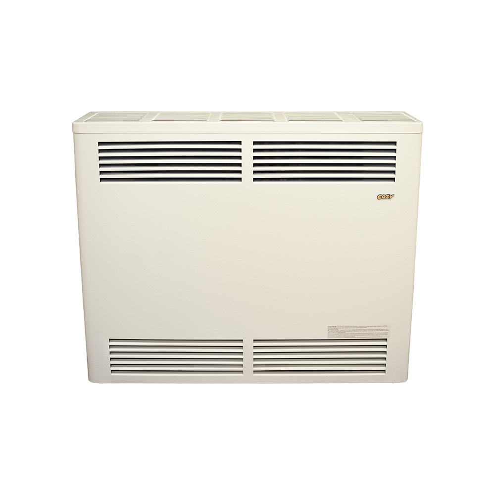 33,000 BTU Natural Gas, Cozy Direct Vent Wall Furnace, Millivolt, includes  standard vent kit, wall thermostat, wire & staples