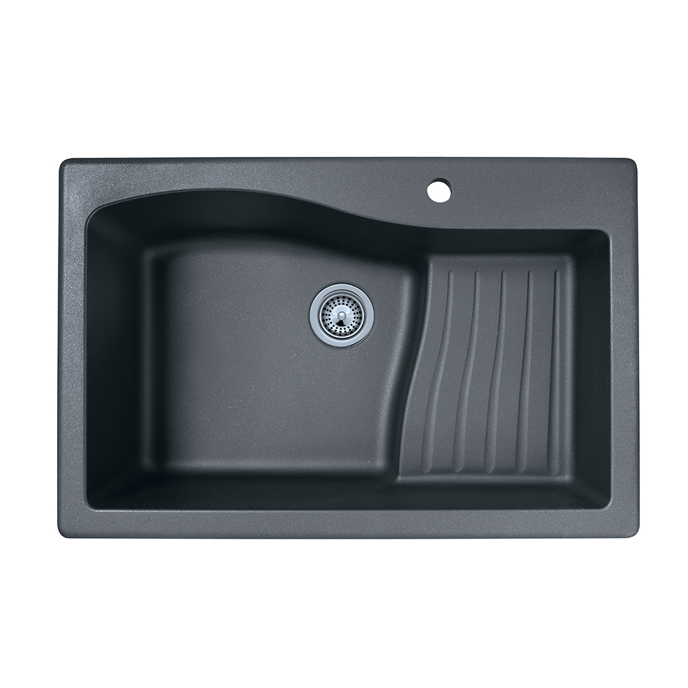 "Granite Dual Mount 33"" x 22"" x 10"" Ascend Single Bowl Kitchen Sink in Nero"