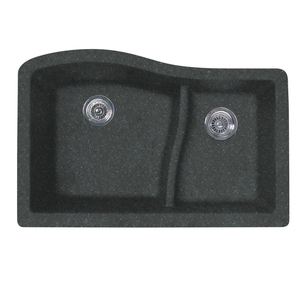 "Granite Undermount 32"" x 21"" x 10"" (L), 7-1/2"" (R) Large/Small Double Bowl Kitchen Sink in Nero"