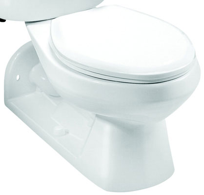 Elongated Front, Rear Outlet Toilet Bowl, 1.0 gpf / 3.8 lpf Water Usage, White Color
